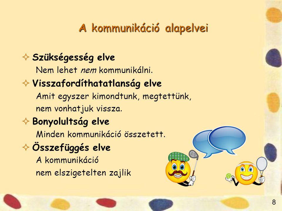 8 A kommunikáció alapelvei  Szükségesség elve Nem lehet nem kommunikálni.