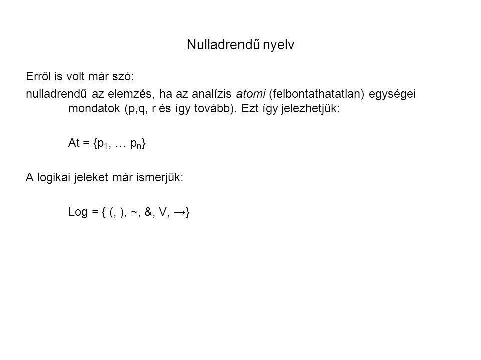 Nulladrendű nyelv Erről is volt már szó: nulladrendű az elemzés, ha az analízis atomi (felbontathatatlan) egységei mondatok (p,q, r és így tovább). Ez