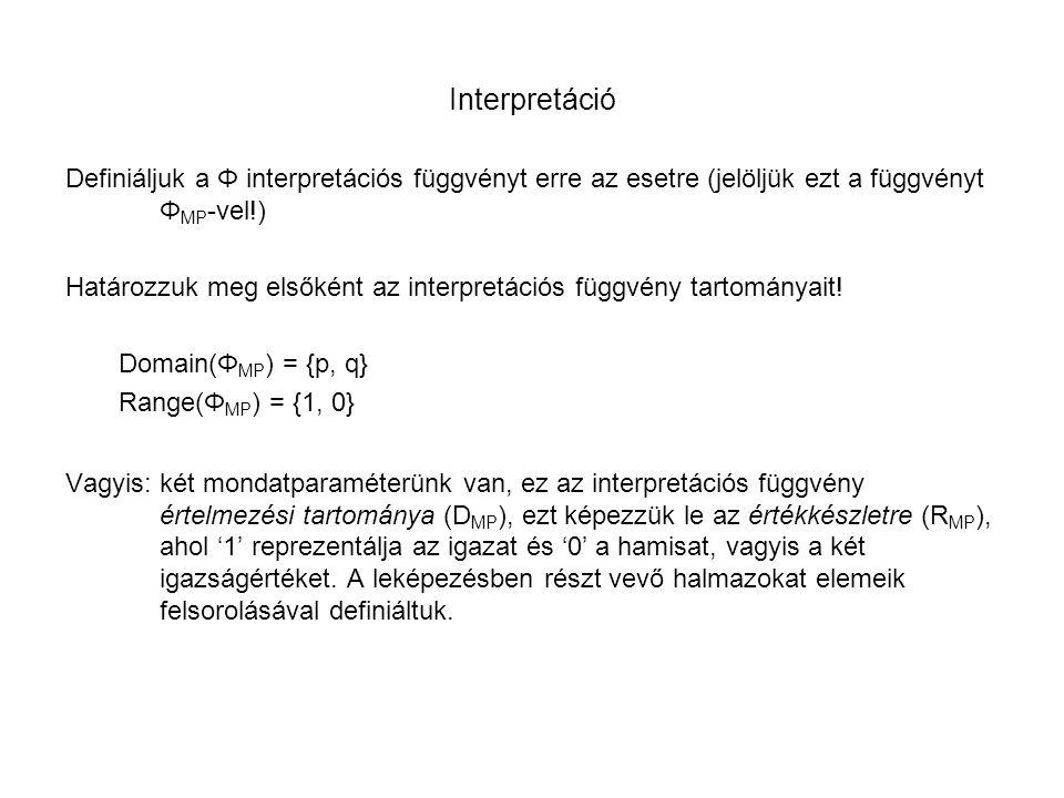 Interpretáció Definiáljuk a Φ interpretációs függvényt erre az esetre (jelöljük ezt a függvényt Φ MP -vel!) Határozzuk meg elsőként az interpretációs