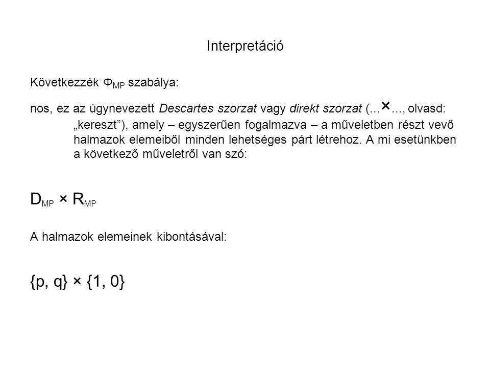 """Interpretáció Következzék Φ MP szabálya: nos, ez az úgynevezett Descartes szorzat vagy direkt szorzat (... ×..., olvasd: """"kereszt""""), amely – egyszerűe"""