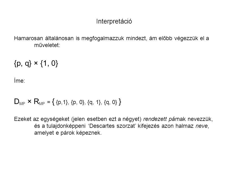Interpretáció Hamarosan általánosan is megfogalmazzuk mindezt, ám előbb végezzük el a műveletet: {p, q} × {1, 0} Íme: D MP × R MP = { {p,1}, {p, 0}, {