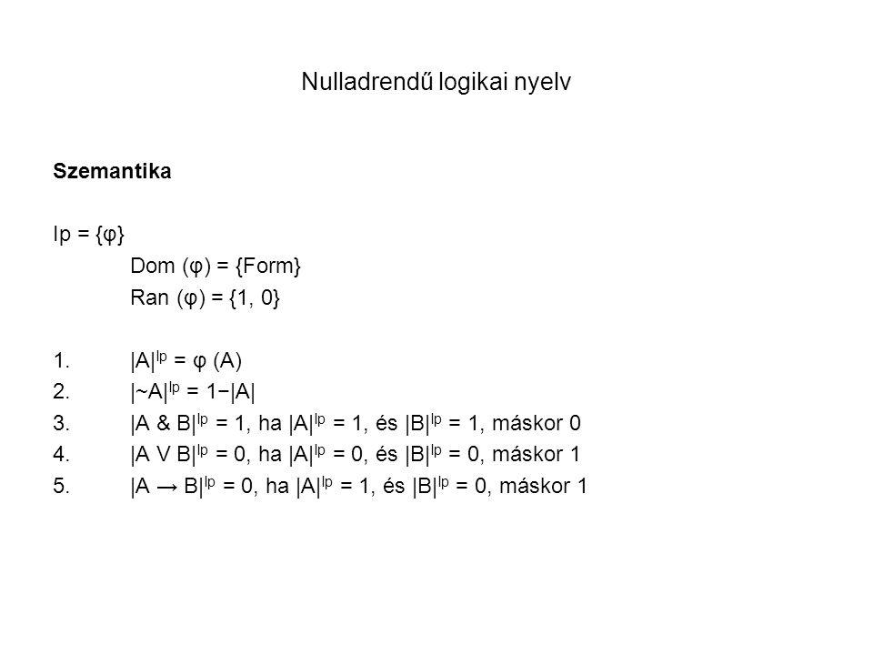 Nulladrendű logikai nyelv Szemantika Ip = {φ} Dom (φ) = {Form} Ran (φ) = {1, 0} 1.|A| Ip = φ (A) 2.|~A| Ip = 1−|A| 3.|A & B| Ip = 1, ha |A| Ip = 1, és