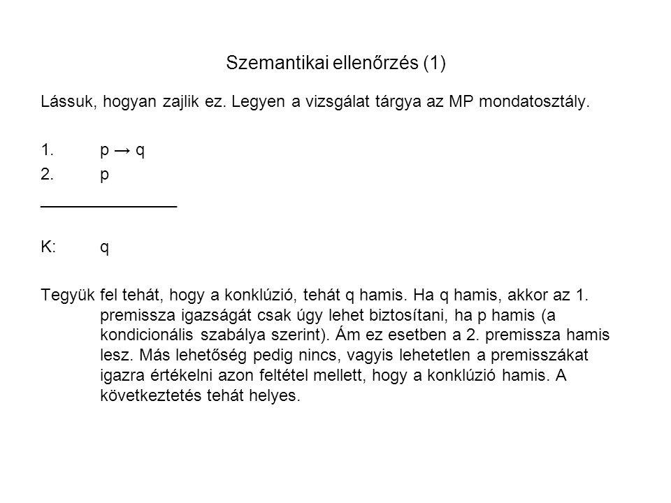 Szemantikai ellenőrzés (1) Lássuk, hogyan zajlik ez. Legyen a vizsgálat tárgya az MP mondatosztály. 1.p → q 2.p _______________ K:q Tegyük fel tehát,