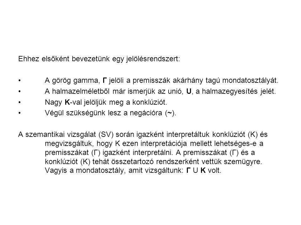 Ehhez elsőként bevezetünk egy jelölésrendszert: A görög gamma, Γ jelöli a premisszák akárhány tagú mondatosztályát. A halmazelméletből már ismerjük az
