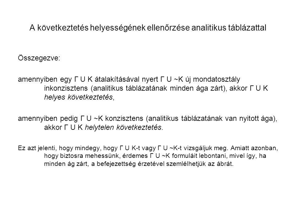 A következtetés helyességének ellenőrzése analitikus táblázattal Összegezve: amennyiben egy Γ U K átalakításával nyert Γ U ~K új mondatosztály inkonzi
