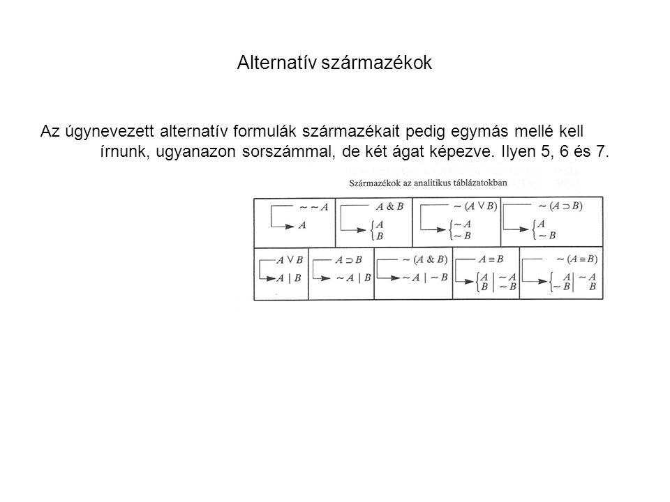 Alternatív származékok Az úgynevezett alternatív formulák származékait pedig egymás mellé kell írnunk, ugyanazon sorszámmal, de két ágat képezve. Ilye