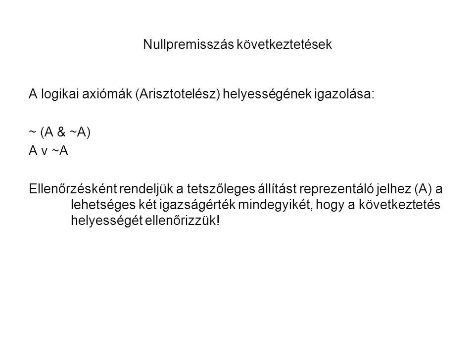 Nullpremisszás következtetések A logikai axiómák (Arisztotelész) helyességének igazolása: ~ (A & ~A) A v ~A Ellenőrzésként rendeljük a tetszőleges áll