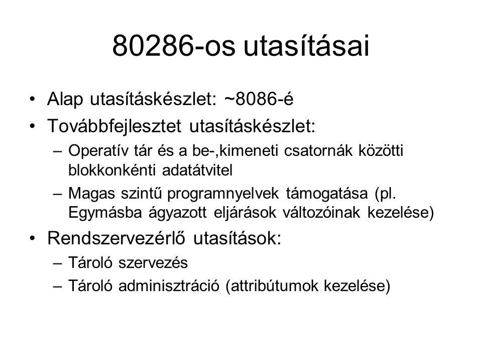 80286-os utasításai Alap utasításkészlet: ~8086-é Továbbfejlesztet utasításkészlet: –Operatív tár és a be-,kimeneti csatornák közötti blokkonkénti ada