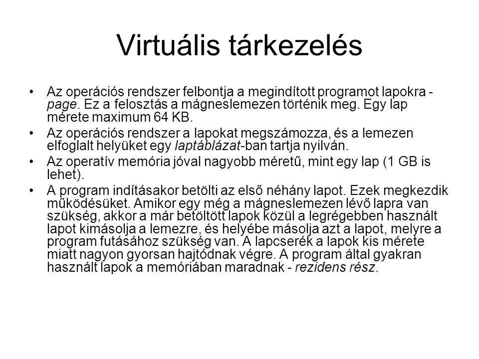 Virtuális tárkezelés Az operációs rendszer felbontja a megindított programot lapokra - page. Ez a felosztás a mágneslemezen történik meg. Egy lap mére