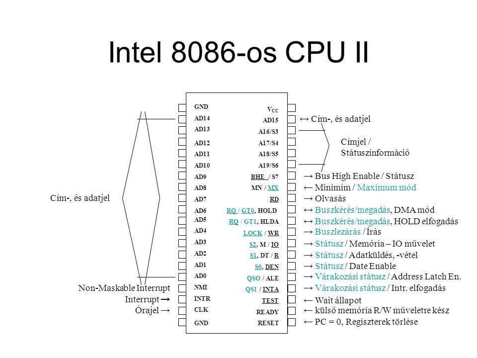 Intel 8086-os CPU II GND AD14 AD13 AD12 AD11 AD10 AD9 AD8 AD7 AD6 AD5 AD4 AD3 AD2 AD1 AD0 NMI INTR CLK GND V CC AD15 A16/S3 A17/S4 A18/S5 A19/S6 BHE /