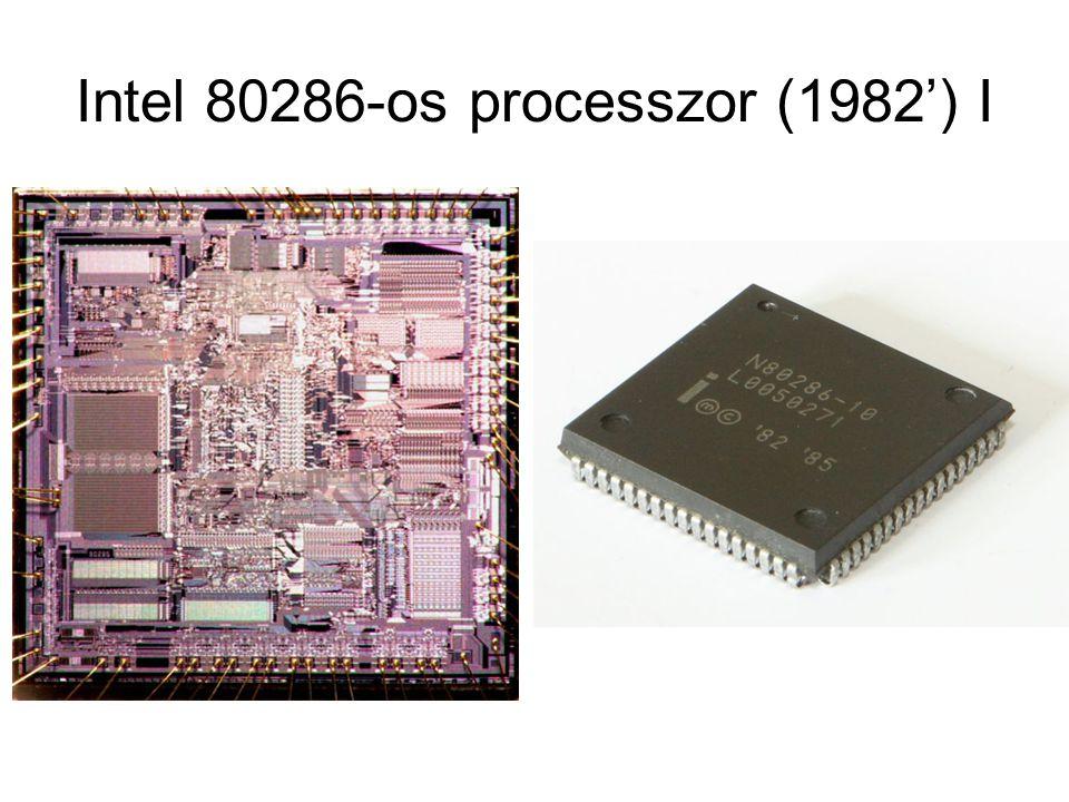 Intel 80286-os processzor II Sorozat legnagyobb teljesítményű 16 bites processzora 134000db tranzisztor 6 / 8 / 12.5 / 20 / 25MHz-es órajel Átlagban 0,21 utasítás / órajel → (legjobb a x86-os családban, köszönhetően a komplexebb címzési módoknak) Újabb utasítások 24 bites címzés Valós (16 MB) és virtuális (1 GB) üzemmód (címzés) Multitasking (több számítási feladat egyidejű elvégzése) Felfele kompatibilitás (8085, 8086) 68 lábú PLCC tokozás