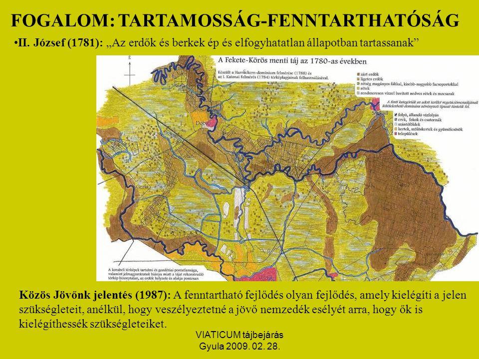 VIATICUM tájbejárás Gyula 2009. 02. 28. FOGALOM: TARTAMOSSÁG-FENNTARTHATÓSÁG II.