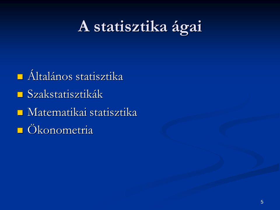 5 A statisztika ágai Általános statisztika Általános statisztika Szakstatisztikák Szakstatisztikák Matematikai statisztika Matematikai statisztika Öko