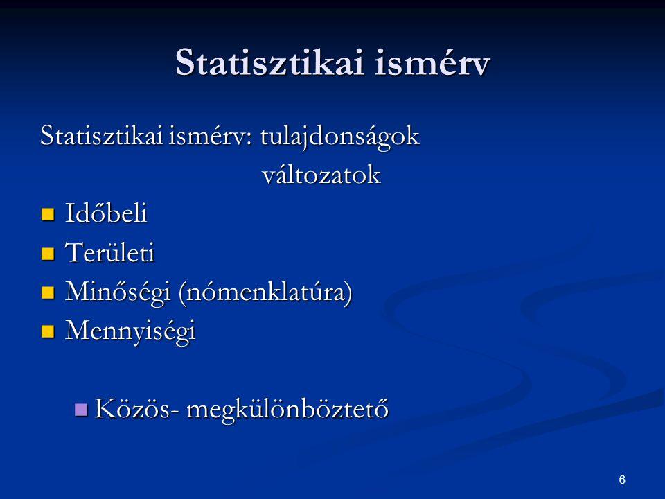7 Elemzési eredmények szintjei Adat (abszolút, származtatott) Adat (abszolút, származtatott) Mutatószám (ismétlődő jelenségek összetett adatkategóriája) Mutatószám (ismétlődő jelenségek összetett adatkategóriája) Modell (logikai, matematikai konstrukció) Modell (logikai, matematikai konstrukció)