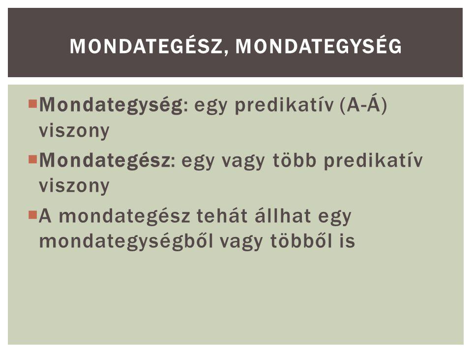  Mondategység: egy predikatív (A-Á) viszony  Mondategész: egy vagy több predikatív viszony  A mondategész tehát állhat egy mondategységből vagy többől is MONDATEGÉSZ, MONDATEGYSÉG