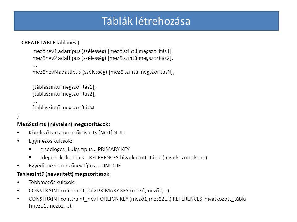 Táblák létrehozása CREATE TABLE táblanév ( mezőnév1 adattípus (szélesség) [mező szintű megszorítás1] mezőnév2 adattípus (szélesség) [mező szintű megsz