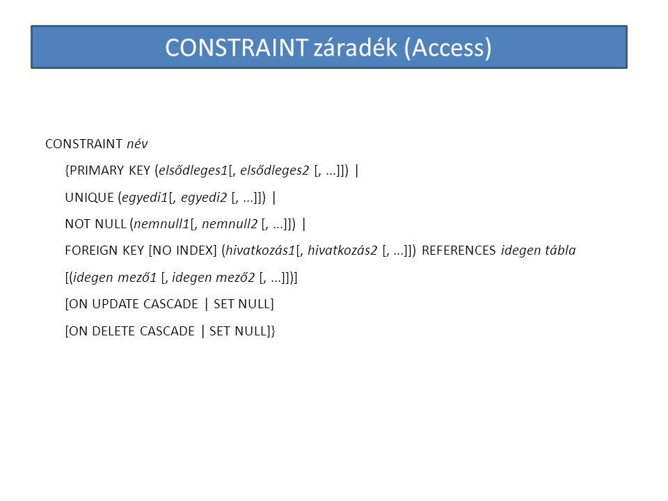 CONSTRAINT záradék (Access) CONSTRAINT név {PRIMARY KEY (elsődleges1[, elsődleges2 [,...]]) | UNIQUE (egyedi1[, egyedi2 [,...]]) | NOT NULL (nemnull1[