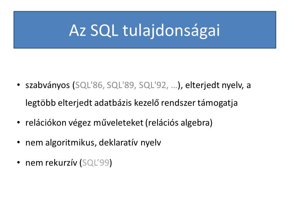 Az SQL tulajdonságai szabványos (SQL'86, SQL'89, SQL'92, …), elterjedt nyelv, a legtöbb elterjedt adatbázis kezelő rendszer támogatja relációkon végez