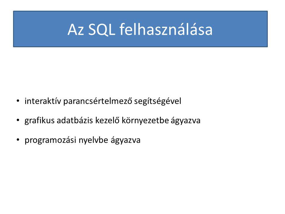 Az SQL felhasználása interaktív parancsértelmező segítségével grafikus adatbázis kezelő környezetbe ágyazva programozási nyelvbe ágyazva