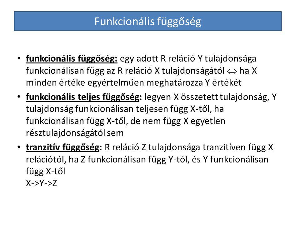 Funkcionális függőség funkcionális függőség: egy adott R reláció Y tulajdonsága funkcionálisan függ az R reláció X tulajdonságától  ha X minden érték