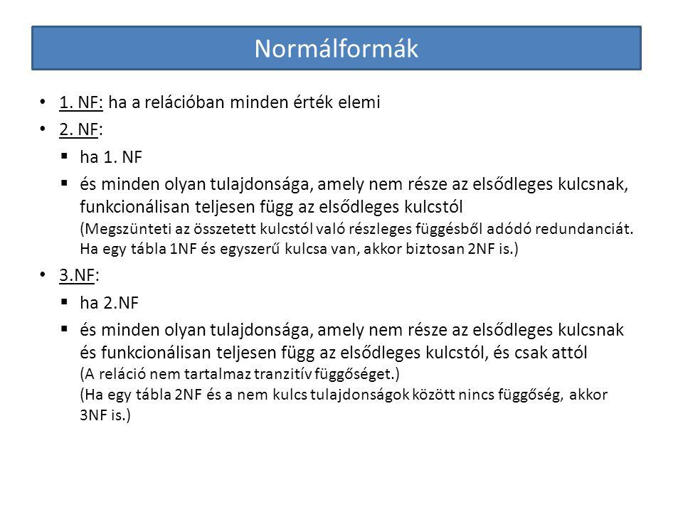 Normálformák 1. NF: ha a relációban minden érték elemi 2. NF:  ha 1. NF  és minden olyan tulajdonsága, amely nem része az elsődleges kulcsnak, funkc
