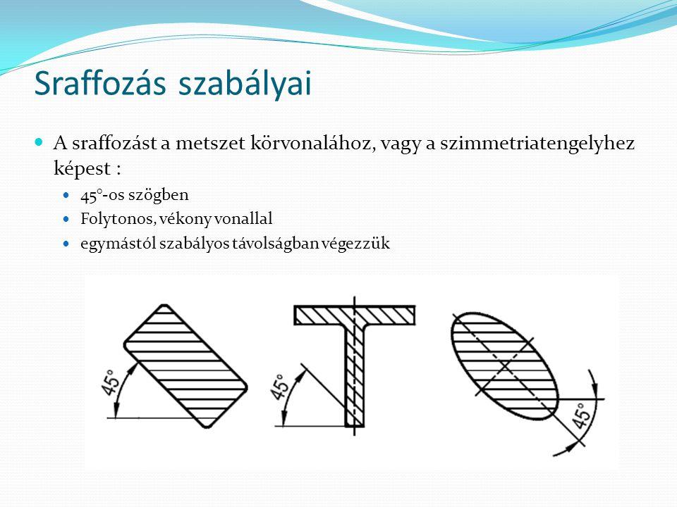 Sraffozás szabályai A sraffozást a metszet körvonalához, vagy a szimmetriatengelyhez képest : 45°-os szögben Folytonos, vékony vonallal egymástól szabályos távolságban végezzük
