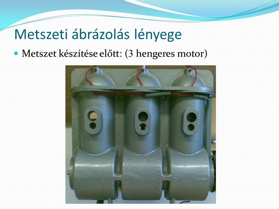 Metszeti ábrázolás lényege Metszet készítése előtt: ( 3 hengeres motor)
