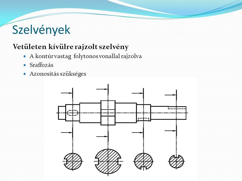 Szelvények Vetületen kívülre rajzolt szelvény A kontúr vastag folytonos vonallal rajzolva Sraffozás Azonosítás szükséges