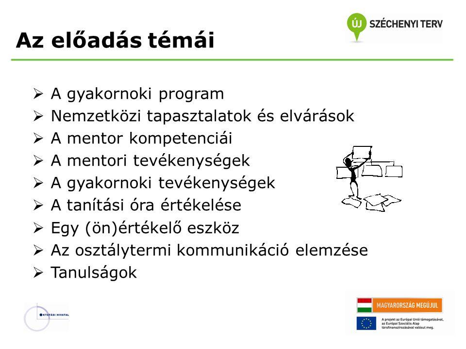 Az előadás témái  A gyakornoki program  Nemzetközi tapasztalatok és elvárások  A mentor kompetenciái  A mentori tevékenységek  A gyakornoki tevék