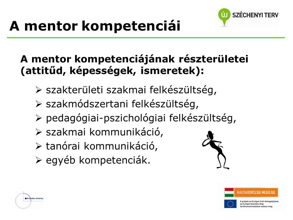 A mentor kompetenciái A mentor kompetenciájának részterületei (attitűd, képességek, ismeretek):  szakterületi szakmai felkészültség,  szakmódszertan