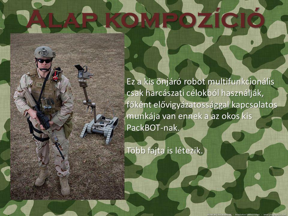 """Típusok Ez egy katonai fejlesztésű robot amit különböző célokra használ az amerikai katonaság : Bomba azonosítás, hatástalanítás Gyors Technikai manőverek kidolgozása (földi egységekre) """"Bomba érzékeléssel rendelkező fajta (kisebb súlyú) (REDOWL) Mesterlövészek lokalizálására és fegyverük azonosítására használatos (Fegyver típus és lövészének távolságának megállapítására)"""