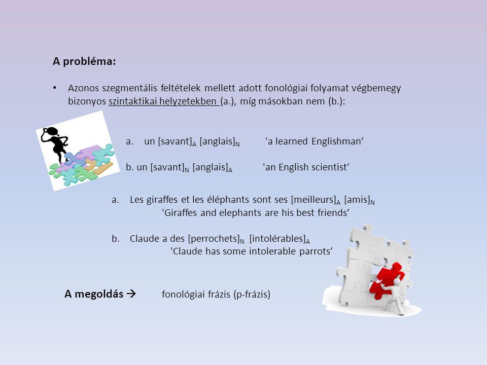 Nespor és Vogel (1986) – Raddoppiamento Sintattico (RS ) - a fonológiai frázis (p-frázis) A nyelv: olasz – toszkánai dialektus A folyamat:szókezdő mássalhangzó geminálódása, adott fonológiai (és szintaktikai) feltételek mellett.