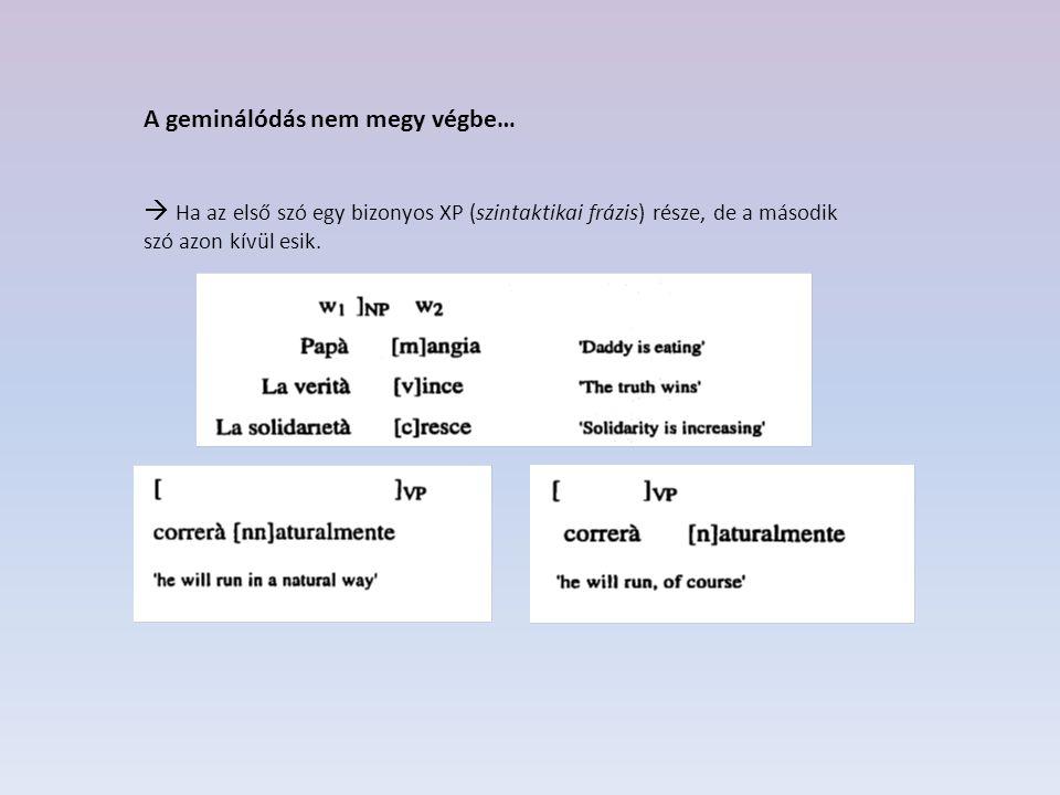 Tehát… (2) caffè caldo  caffè [cc]aldo'meleg kávé'  A folyamat csak akkor megy végbe, ha a megelőző szó egy szintaktikai frázis feje és a változás alanyaként szolgáló szó is része a frázisnak  Jelen esetben: ugyan w 1 nem része az AP-nek, de w 2 része az NP-nek, aminek a w 1 a feje.