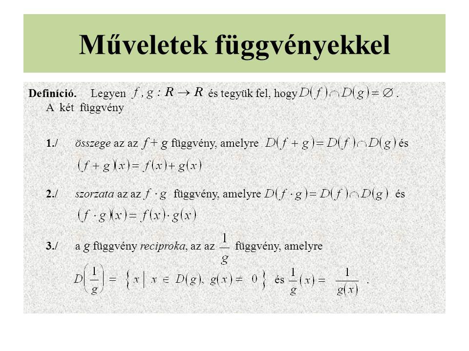 Műveletek függvényekkel Definíció.Legyen és tegyük fel, hogy .