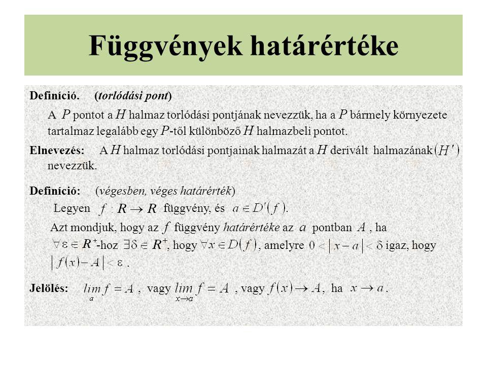 Függvények határértéke Definíció.