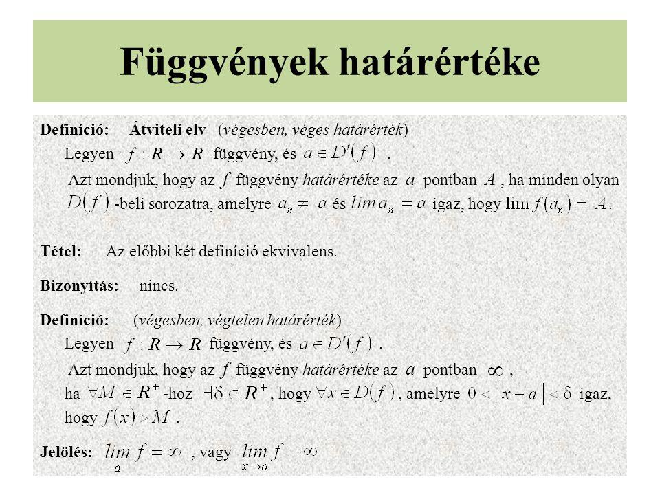 Függvények határértéke Definíció: Átviteli elv (végesben, véges határérték) Legyen függvény, és.