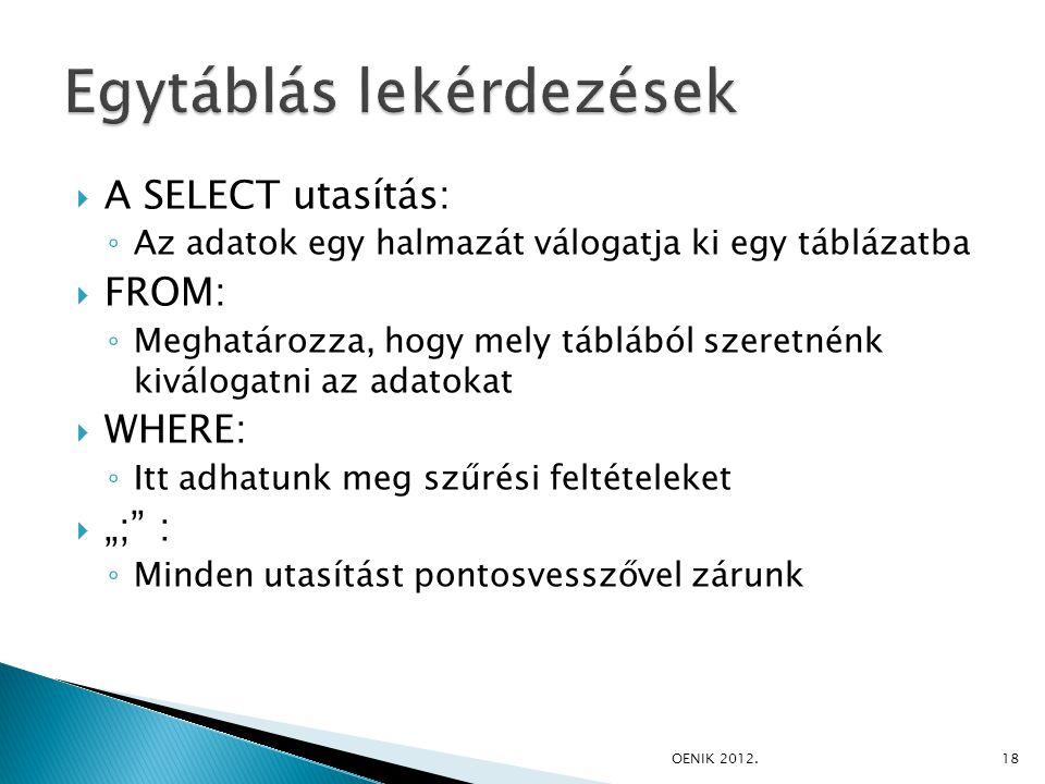 """ A SELECT utasítás: ◦ Az adatok egy halmazát válogatja ki egy táblázatba  FROM: ◦ Meghatározza, hogy mely táblából szeretnénk kiválogatni az adatokat  WHERE: ◦ Itt adhatunk meg szűrési feltételeket  """"; : ◦ Minden utasítást pontosvesszővel zárunk OENIK 2012.18"""