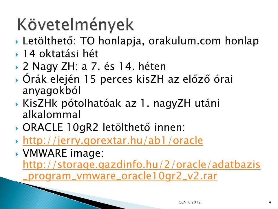  Letölthető: TO honlapja, orakulum.com honlap  14 oktatási hét  2 Nagy ZH: a 7. és 14. héten  Órák elején 15 perces kisZH az előző órai anyagokból