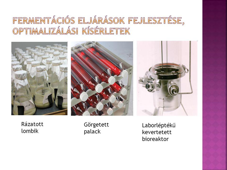  Réteges felépítése a kemosztátnál látottakhoz hasonló  h=25 cm, 2500 Pa víznyomás biztosítja az állandó 230 μl-es térfogatot  A- beoltás  B- víz pótlás  C- elfolyó a beoltás alatt, egyébként zárva  D- bázis adagolás  E- sav/glükóz adagolás