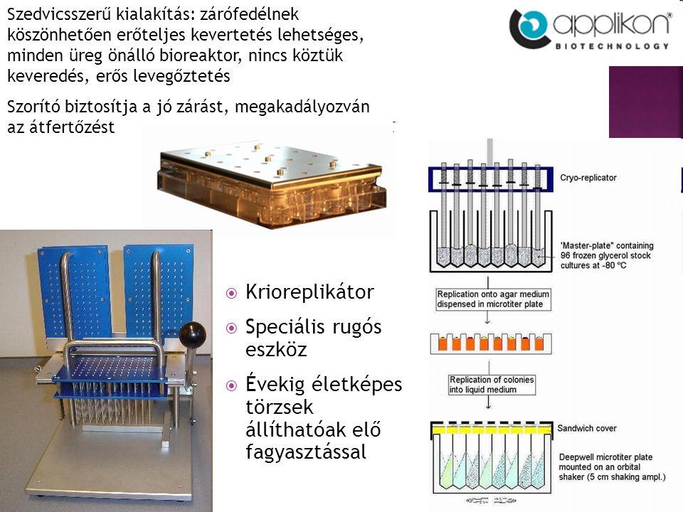  Krioreplikátor  Speciális rugós eszköz  Évekig életképes törzsek állíthatóak elő fagyasztással Szedvicsszerű kialakítás: zárófedélnek köszönhetően erőteljes kevertetés lehetséges, minden üreg önálló bioreaktor, nincs köztük keveredés, erős levegőztetés Szorító biztosítja a jó zárást, megakadályozván az átfertőzést