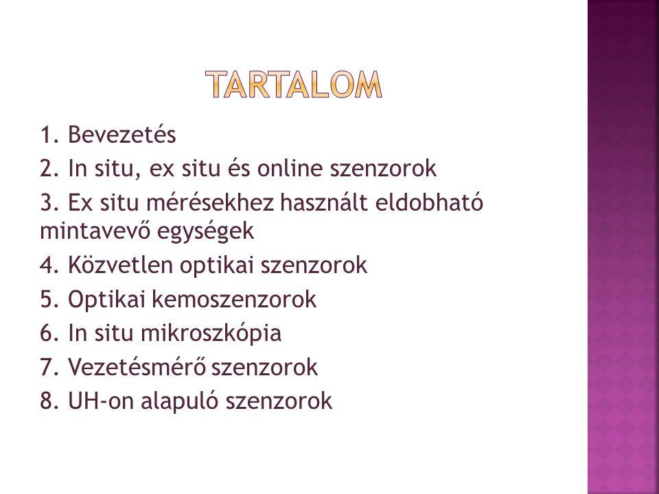1.Bevezetés 2. In situ, ex situ és online szenzorok 3.