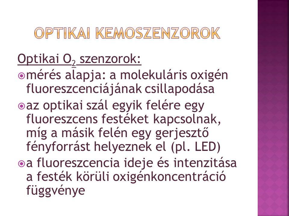 Optikai O 2 szenzorok:  mérés alapja: a molekuláris oxigén fluoreszcenciájának csillapodása  az optikai szál egyik felére egy fluoreszcens festéket kapcsolnak, míg a másik felén egy gerjesztő fényforrást helyeznek el (pl.