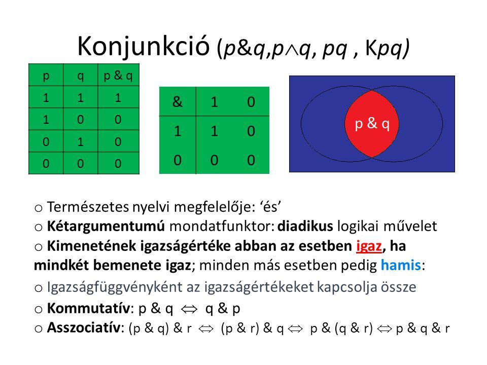 Konjunkció (p&q,p  q, pq, Kpq) pqp & q 111 100 010 000 &10 110 000 o Természetes nyelvi megfelelője: 'és' o Kétargumentumú mondatfunktor: diadikus logikai művelet o Kimenetének igazságértéke abban az esetben igaz, ha mindkét bemenete igaz; minden más esetben pedig hamis: o Igazságfüggvényként az igazságértékeket kapcsolja össze o Kommutatív: p & q  q & p o Asszociatív: (p & q) & r  (p & r) & q  p & (q & r)  p & q & r