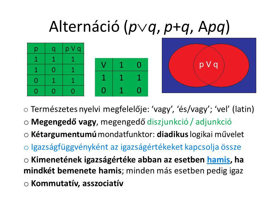 Alternáció (p  q, p+q, Apq) pqp V q 111 101 011 000 V10 111 010 o Természetes nyelvi megfelelője: 'vagy', 'és/vagy'; 'vel' (latin) o Megengedő vagy, megengedő diszjunkció / adjunkció o Kétargumentumú mondatfunktor: diadikus logikai művelet o Igazságfüggvényként az igazságértékeket kapcsolja össze o Kimenetének igazságértéke abban az esetben hamis, ha mindkét bemenete hamis; minden más esetben pedig igaz o Kommutatív, asszociatív