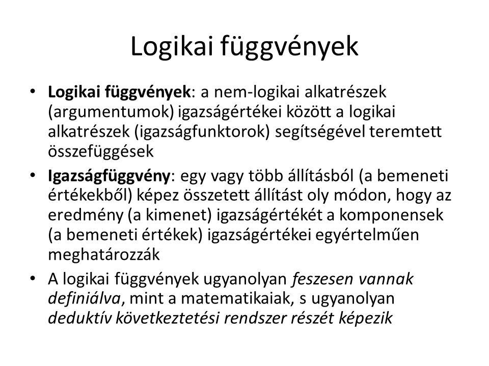 Logikai függvények Logikai függvények: a nem-logikai alkatrészek (argumentumok) igazságértékei között a logikai alkatrészek (igazságfunktorok) segítségével teremtett összefüggések Igazságfüggvény: egy vagy több állításból (a bemeneti értékekből) képez összetett állítást oly módon, hogy az eredmény (a kimenet) igazságértékét a komponensek (a bemeneti értékek) igazságértékei egyértelműen meghatározzák A logikai függvények ugyanolyan feszesen vannak definiálva, mint a matematikaiak, s ugyanolyan deduktív következtetési rendszer részét képezik