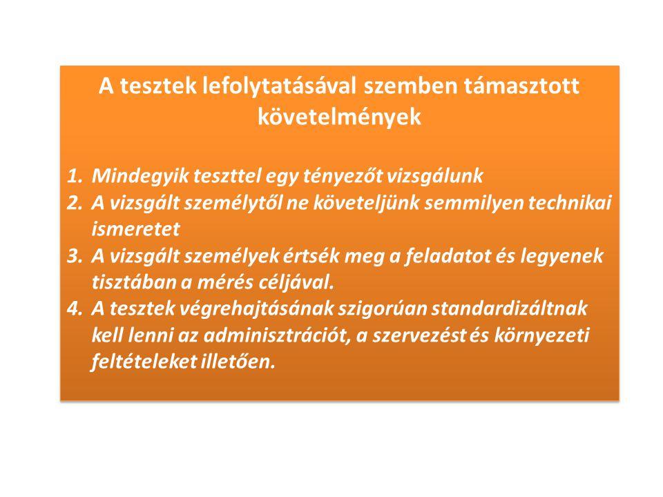 A tesztek lefolytatásával szemben támasztott követelmények 1.Mindegyik teszttel egy tényezőt vizsgálunk 2.A vizsgált személytől ne követeljünk semmilyen technikai ismeretet 3.A vizsgált személyek értsék meg a feladatot és legyenek tisztában a mérés céljával.