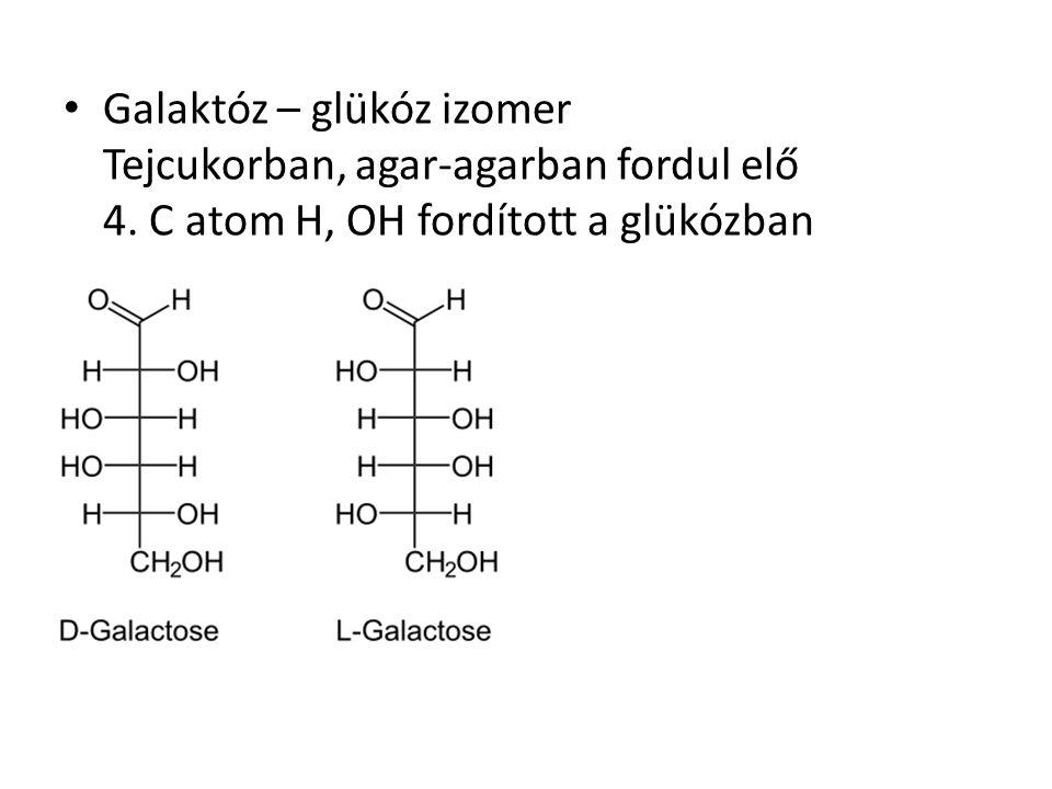 Galaktóz – glükóz izomer Tejcukorban, agar-agarban fordul elő 4. C atom H, OH fordított a glükózban