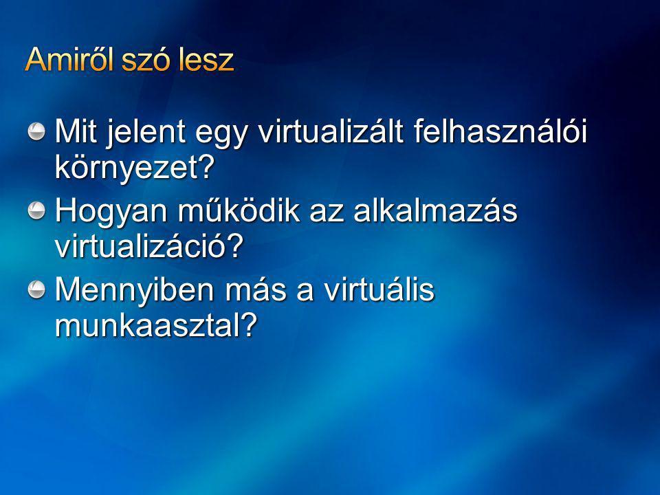 Management Desktop virtualizáció Windows Vista Enterprise Centralized Desktop Alkalmazás virtualizáció Prezentáció virtualizáció Szerver virtualizáció Profile virtualizáció Dokumentumok átirányítása Kapcsolat nélküli fájlok
