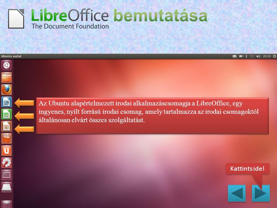 Az Ubuntu alapértelmezett irodai alkalmazáscsomagja a LibreOffice, egy ingyenes, nyílt forrású irodai csomag, amely tartalmazza az irodai csomagoktól