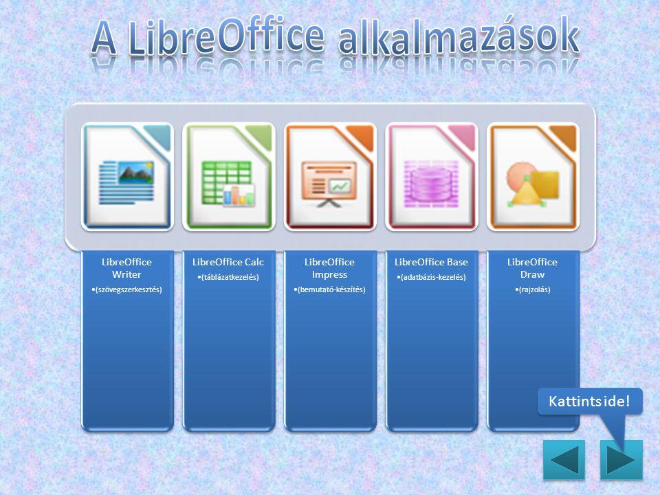 LibreOffice Writer (szövegszerkesztés) LibreOffice Calc (táblázatkezelés) LibreOffice Impress (bemutató-készítés) LibreOffice Base (adatbázis-kezelés) LibreOffice Draw (rajzolás) Kattints ide!